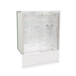 Ens. baignoire-douche Utile par MAAX avec drain à droite, 60 po x 30 po x 81 po, Marbre Carrara/nickel brossé, 5 pièces