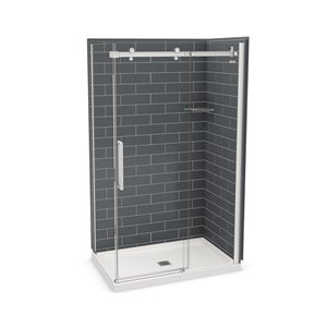 MAAX Utile Corner Shower Kit with Central Drain - 48-in x 32-in x 84-in - Thunder Grey/Chrome - 5-Piece