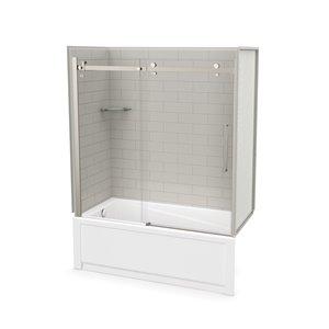 Ens. baignoire-douche Utile par MAAX avec drain à gauche, 60 po x 30 po x 81 po, gris doux/nickel brossé, 5 pièces