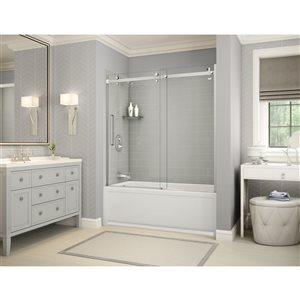 Ens. baignoire-douche Utile par MAAX avec drain à gauche, 60 po x 30 po x 81 po, gris doux/chrome, 5 pièces