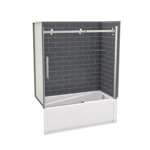 Ens. baignoire-douche Utile par MAAX avec drain à droite, 60 po x 30 po x 81 po, gris foudre/nickel brossé, 5 pièces