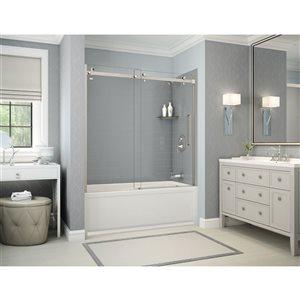 Ens. baignoire-douche Utile par MAAX avec drain à droite, 60 po x 30 po x 81 po, gris cendre/nickel brossé, 5 pièces