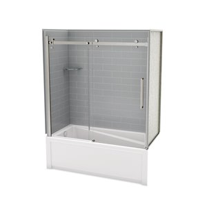 MAAX Utile Bathtub and Shower Kit with Left Drain - 60-in x 30-in x 81-in - Ash Grey/Brushed Nickel - 5-Piece