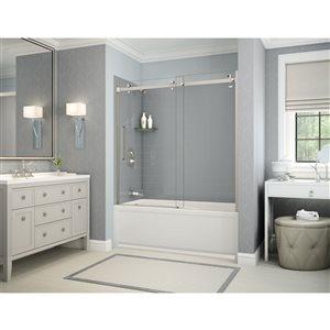 Ens. baignoire-douche Utile par MAAX avec drain à gauche, 60 po x 30 po x 81 po, gris cendre/nickel brossé, 5 pièces