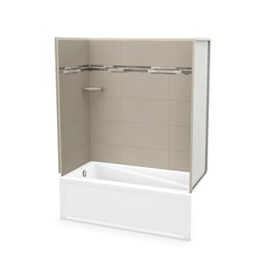 MAAX Utile Bathtub and Shower Kit with Left Drain - 60-in x 30-in x 81-in - Origin Greige - 4-Piece