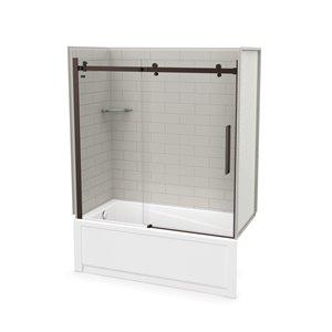 Ens. baignoire-douche Utile par MAAX avec drain à gauche, 60 po x 30 po x 81 po, gris doux/bronze foncé, 5 pièces