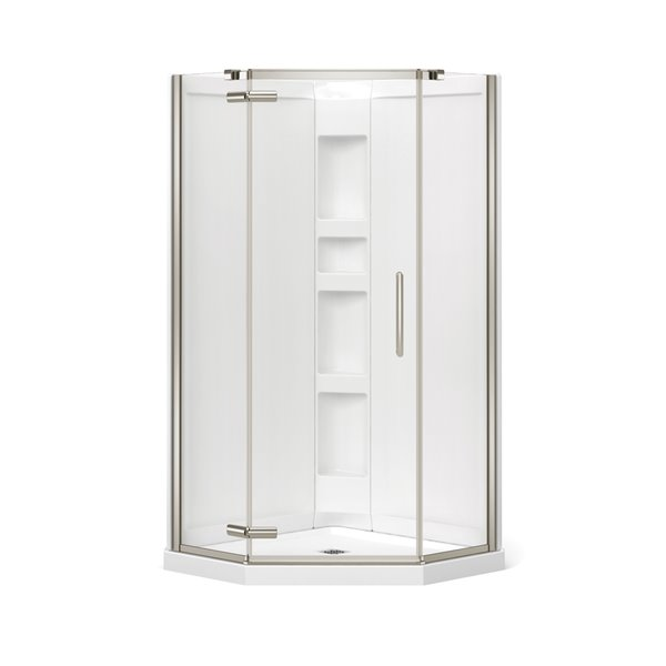 MAAX Hana Neo-Angle Shower Kit with Base and Wall - 38-in x 38-in x 78.75-in - Brushed Nickel - 3-Piece