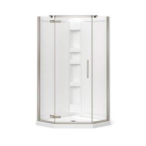 Cabine de douche néo-angle Hana par MAAX avec base et mur, 38 po x 38 po x 78.75 po, nickel brossé, 3 pièces