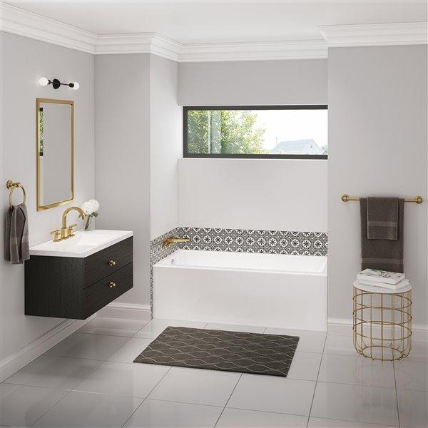 MAAX Bosca Alcove Acrylic Bathtub with Left Drain - 60-in x 32-in - White