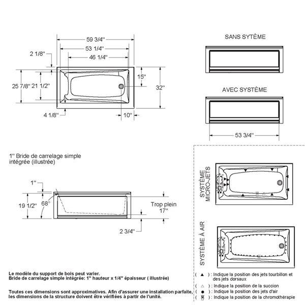 Ens. baignoire-douche Utile par MAAX avec drain à droite, 60 po x 30 po x 81 po, gris foudre, 4 pièces