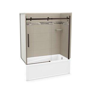 Ens. baignoire-douche Utile par MAAX avec drain à droite, 60 po x 30 po x 81 po, Origine Grège/bronze foncé, 5 pièces