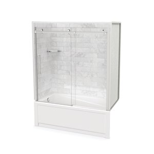 MAAX Utile Bathtub and Shower Kit with Left Drain - 60-in x 30-in x 81-in - Marble Carrara/Chrome - 5-Piece