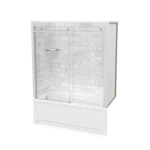 Ens. baignoire-douche Utile par MAAX avec drain à gauche, 60 po x 30 po x 81 po, Marbre Carrara/chrome, 5 pièces