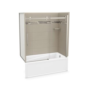 MAAX Utile Bathtub and Shower Kit with Right Drain - 60-in x 30-in x 81-in - Origin Greige/Brushed Nickel - 5-Piece