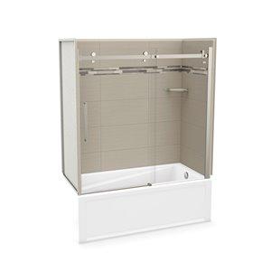 Ens. baignoire-douche Utile par MAAX avec drain à droite, 60 po x 30 po x 81 po, Origine Grège/nickel brossé, 5 pièces
