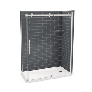MAAX Utile Corner Shower Kit with Right Drain - 60-in x 32-in x 84-in - Thunder Grey/Chrome - 5-Piece