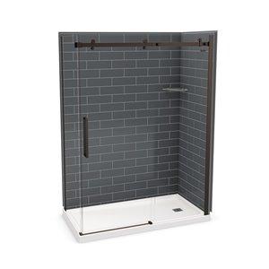 Ens. de douche en coin Utile par MAAX avec drain à droite, 60 po x 32 po x 84 po, gris foudre/bronze foncé, 5 pièces