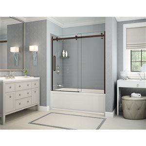 Ens. baignoire-douche Utile par MAAX avec drain à gauche, 60 po x 30 po x 81 po, gris cendre/bronze foncé, 5 pièces