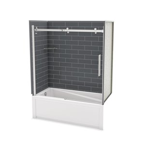 MAAX Utile Bathtub and Shower Kit with Left Drain - 60-in x 30-in x 81-in - Thunder Grey/Chrome - 5-Piece