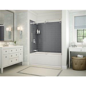 Ens. baignoire-douche Utile par MAAX avec drain à gauche, 60 po x 30 po x 81 po, gris foudre/chrome, 5 pièces
