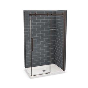 MAAX Utile Corner Shower Kit with Central Drain - 48-in x 32-in x 84-in - Thunder Grey/Dark Bronze - 5-Piece