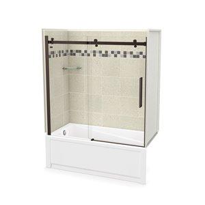 Ens. baignoire-douche Utile par MAAX avec drain à gauche, 60 po x 30 po x 81 po, Stone Sahara/bronze foncé, 5 pièces