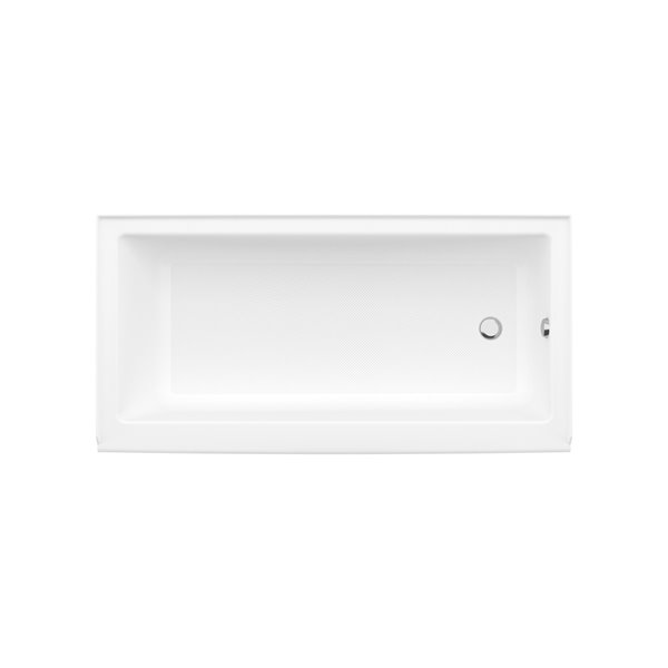 MAAX Bosca Access Alcove Acrylic Bathtub with Right Drain and Anti-Slip Floor - 60-in x 30-in - White
