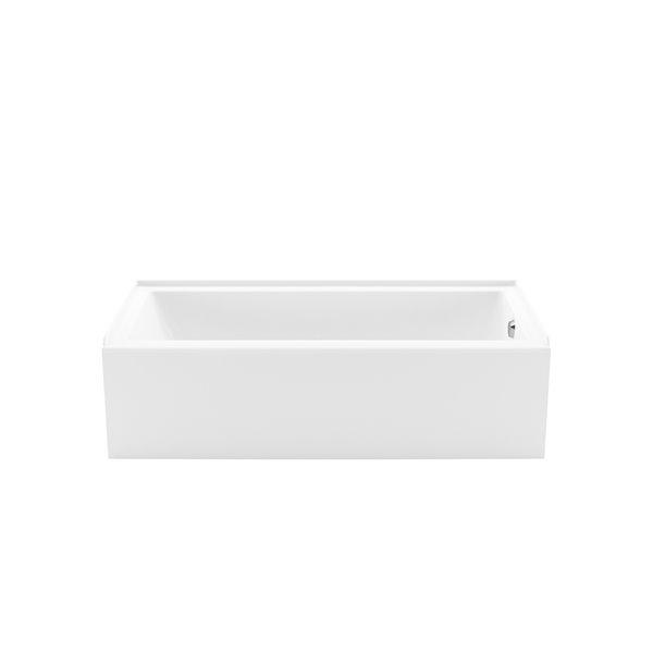 Baignoire alcôve en acrylique Bosca Access par MAAX avec drain à droite et fond antidérapant, 60 x 30 po, blanc