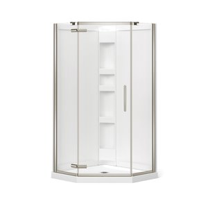 MAAX Hana Neo-Angle Shower Kit with Base and Wall - 40-in x 40-in x 78.75-in - Brushed Nickel - 3-Piece