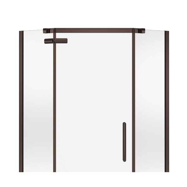 MAAX Hana Neo-Angle Shower Kit with Base and Wall - 40-in x 40-in x 78.75-in - Dark Bronze - 3-Piece
