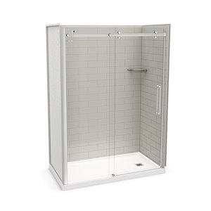 MAAX Utile Alcove Shower Kit with Right Drain - 60-in x 32-in - Soft Grey/Chrome - 5-Piece