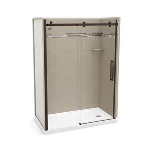 MAAX Utile Alcove Shower Kit with Right Drain - 60-in x 32-in - Origin Greige/Dark Bronze - 5-Piece