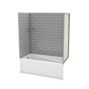 MAAX Utile Bathtub and Shower Kit with Left Drain - 60-in x 30-in x 81-in - Ash Grey - 4-Piece