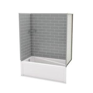 Ens. baignoire-douche Utile par MAAX avec drain à gauche, 60 po x 30 po x 81 po, gris cendre, 4 pièces
