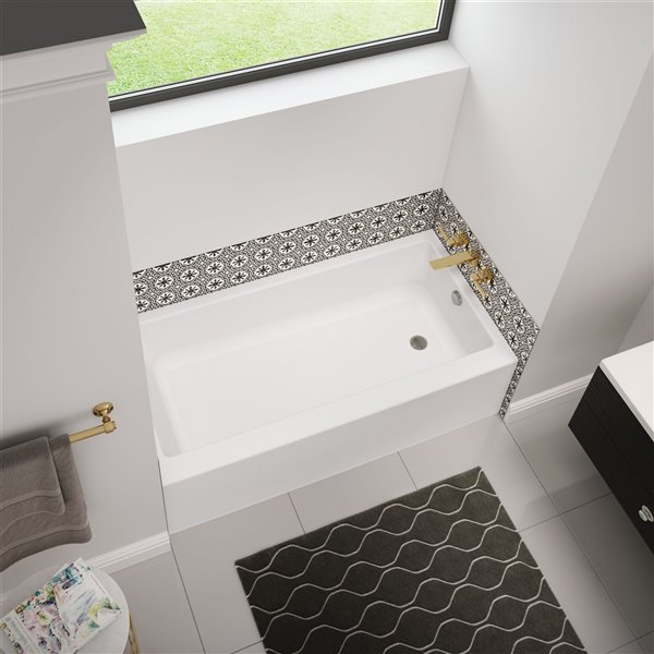 MAAX Bosca Access AFR Alcove Acrylic Bathtub with Right Drain and Anti-Slip Floor - 60-in x 30-in - White