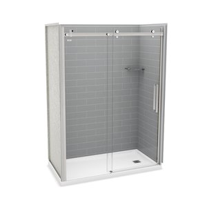 MAAX Utile Alcove Shower Kit with Right Drain - 60-in x 32-in - Ash Grey/Chrome - 5-Piece