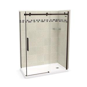 Ens. de douche en coin Utile par MAAX avec drain à droite, 60 po x 32 po x 84 po, Stone Sahara/bronze foncé, 5 pièces