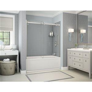 Ens. baignoire-douche Utile par MAAX avec drain à droite, 60 po x 30 po x 81 po, gris cendre/chrome, 5 pièces