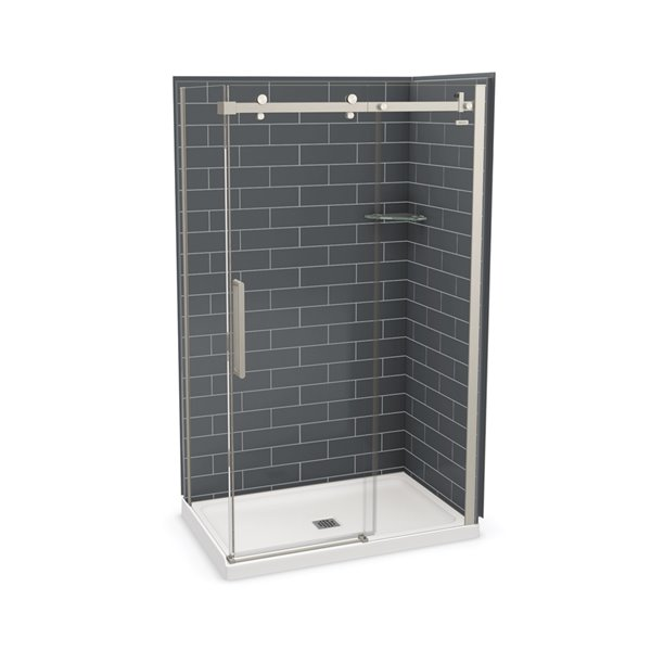 MAAX Utile Corner Shower Kit with Central Drain - 48-in x 32-in x 84-in - Thunder Grey/Brushed Nickel - 5-Piece