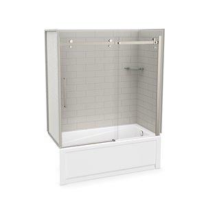 Ens. baignoire-douche Utile par MAAX avec drain à droite, 60 po x 30 po x 81 po, gris doux/nickel brossé, 5 pièces