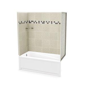 Ens. baignoire-douche Utile par MAAX avec drain à gauche, 60 po x 30 po x 81 po, Stone Sahara, 4 pièces