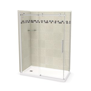 MAAX Utile Corner Shower Kit with Left Drain - 60-in x 32-in x 84-in - Stone Sahara/Chome - 5-Piece