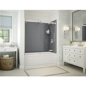 Ens. baignoire-douche Utile par MAAX avec drain à droite, 60 po x 30 po x 81 po, gris foudre/chrome, 5 pièces