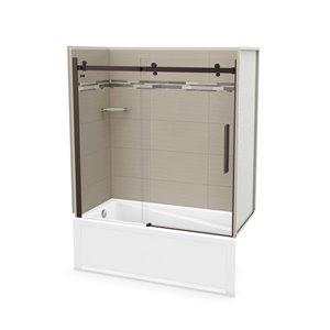 Ens. baignoire-douche Utile par MAAX avec drain à gauche, 60 po x 30 po x 81 po, Origine Grège/bronze foncé, 5 pièces