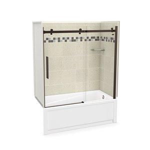 Ens. baignoire-douche Utile par MAAX avec drain à droite, 60 po x 30 po x 81 po, Stone Sahara/bronze foncé, 5 pièces