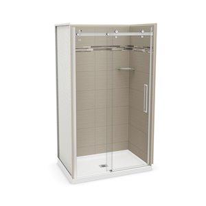 Ens. de douche en alcôve Utile par MAAX avec drain central, 48 po x 32 po, Origine Grège/chrome, 5 pièces