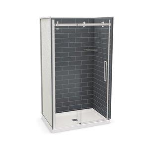 Ens. de douche en alcôve Utile par MAAX avec drain central, 48 po x 32 po, gris foudre/chrome, 5 pièces