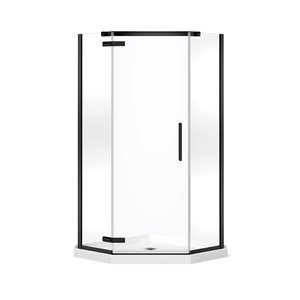 MAAX Hana Neo-Angle Shower Kit with Base - 38-in x 38-in x 78.75-in - Matte Black - 2-Piece