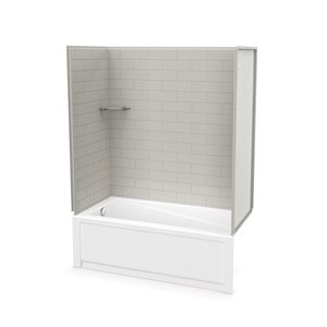 MAAX Utile Bathtub and Shower Kit with Left Drain - 60-in x 30-in x 81-in - Soft Grey - 4-Piece