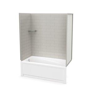Ens. baignoire-douche Utile par MAAX avec drain à gauche, 60 po x 30 po x 81 po, gris doux, 4 pièces
